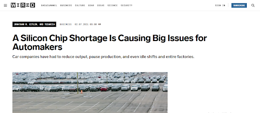 Photo of article about Silicon Chip Shortage causing big issues for automakers