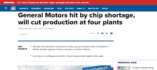 photo of article about General Motors being hit by chip shortage