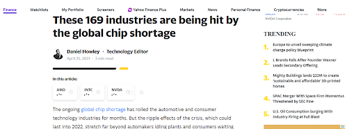 photo of article about 169 industries being hit by global chip shortage